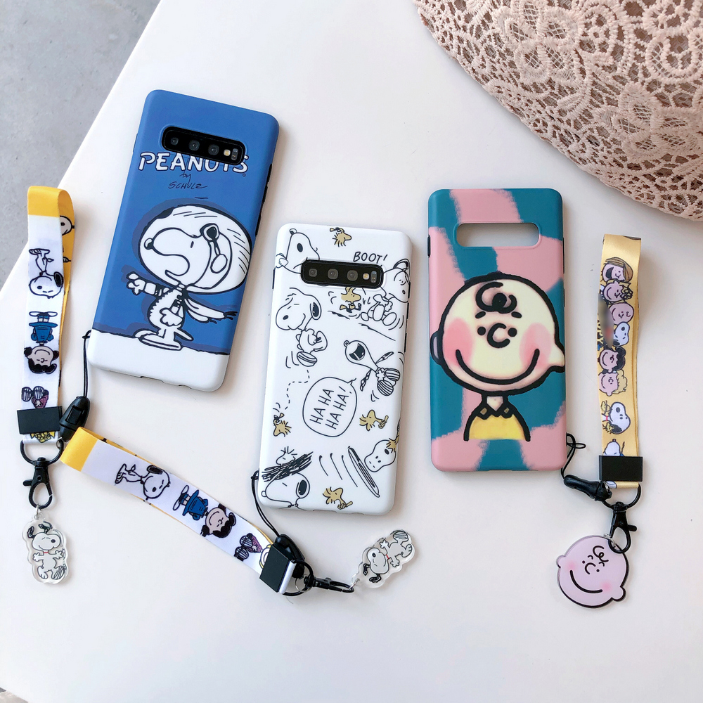 Cartoon S10 Plus Cute Pet Dog Case Charlie Soft Phone Cases For Samsung Galaxy S9 Plus S8 Note 9 8 Cover + Crystal Pendant Strap