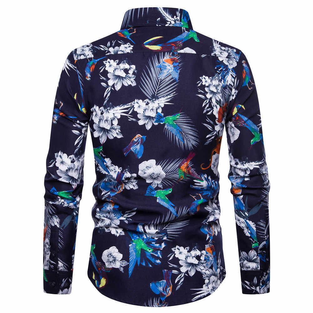 Мужская пляжная гавайская рубашка, приталенная, с длинными рукавами, мужские рубашки в цветах, плюс размер, Повседневная рубашка на пуговицах для отдыха