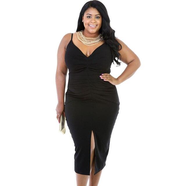 Xxxl 2016 Bodycon Dress Black Midi Sexy Plus Size Club Dresses Large