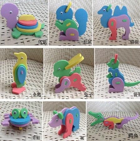24 шт. 3D из пеноматериала EVA Пазлы для детей DIY Сборка игрушки мультфильм животных модель пазл для детей творческие развивающие игрушки