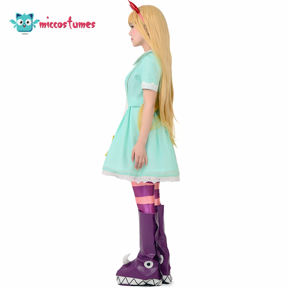 Girl's Princess Star Butterfly Cosplay Costume Green Dress Including Hair Accessory,Star Bag and Shoe Covers 2