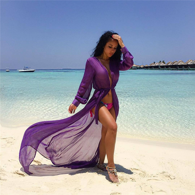 Pantai Sampul ups Tunic Pareos Swimwear Wanita 2018 Bikini Perban lengan panjang Kardigan sampul up Chiffon Baju Renang Pantai Berenang Pakai