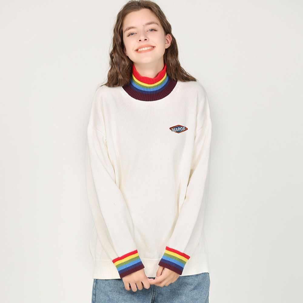 Moda Aelfric, suéteres informales con cuello arcoíris de punto, Harajuku de alta calidad Unisex, ropa de calle de punto holgada blanca 8859