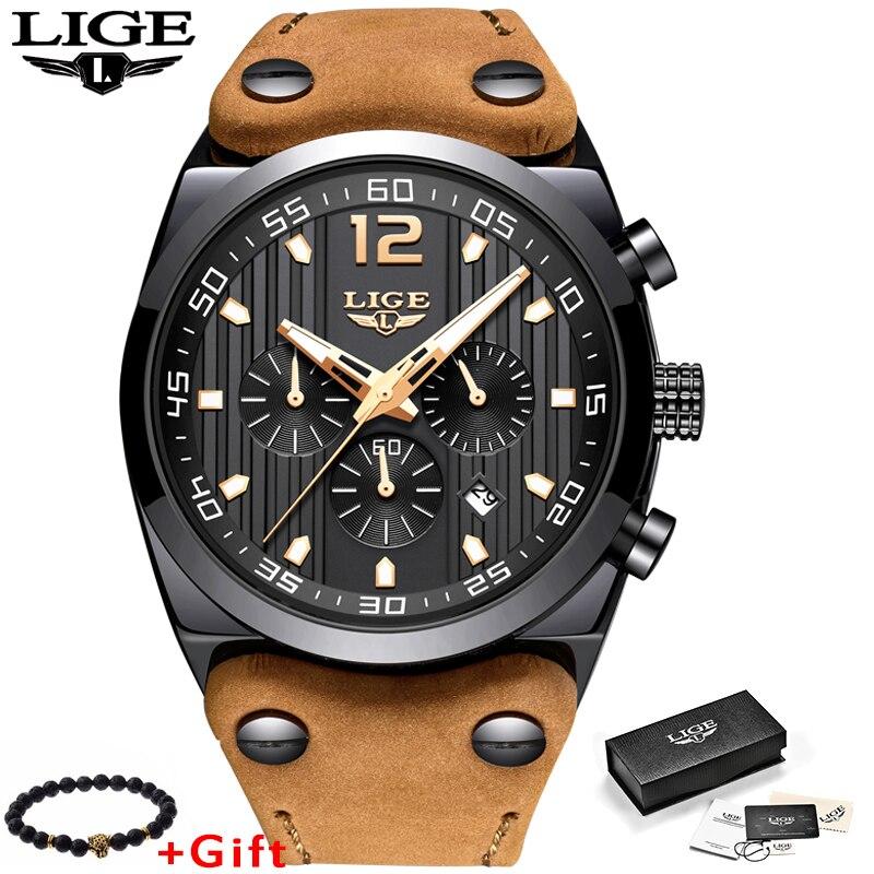 LIGE Mens relojes Top marca de lujo deportivo reloj hombres de cuero impermeable reloj de cuarzo reloj Masculino Relogio Masculino