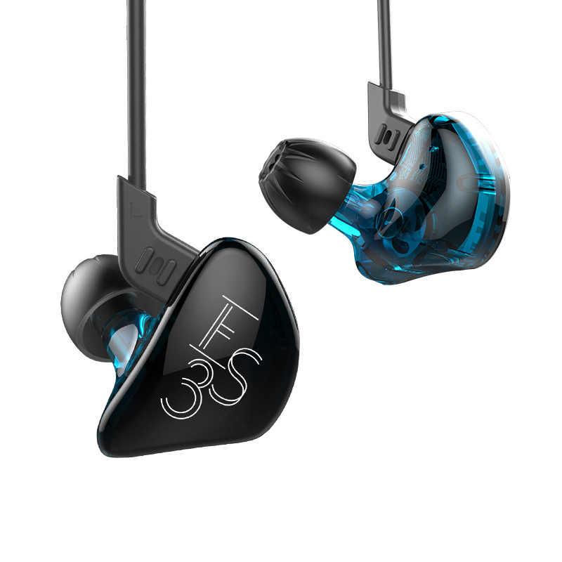 KZ ES3 Paars Oortelefoon Hybrid Dynamische En Evenwichtige Anker In Ear HIFI Stereo Sport Headset Geschikt Bluetooth