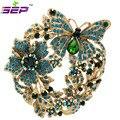 Цветок бабочка большая брошь кристаллы горный хрусталь пен для женщин ювелирные аксессуары подарки ко дню рождения 4489