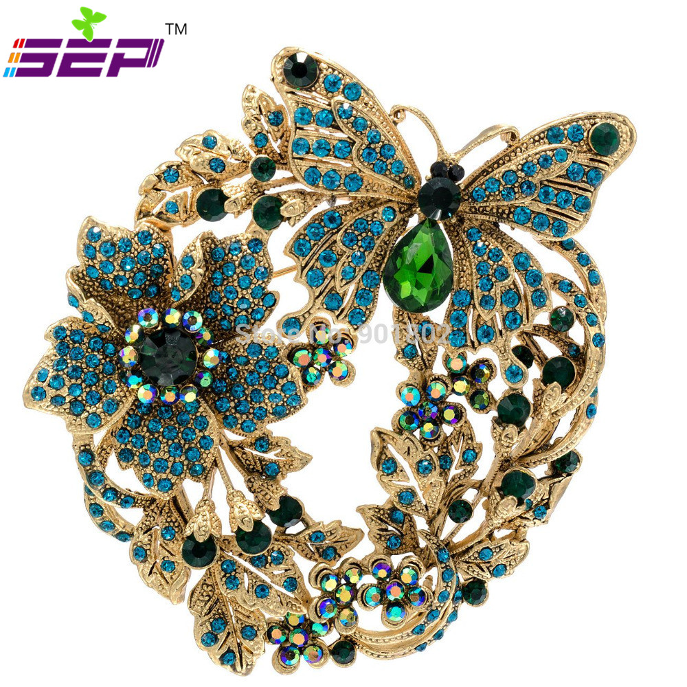 Flower butterfly large brooch crystals rhinestone broach for Decor jewelry