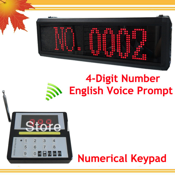 Wireless Queue calling system of Wireless keyboard and Display Receiver showing queue number with English voice prompt