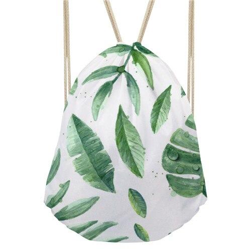 Noisydesigns Green Leaves Hawaiian Style Cinch Sack Backpack Beach Bags  Storage Travel Mini Backpacks For Girls Shopper Bag