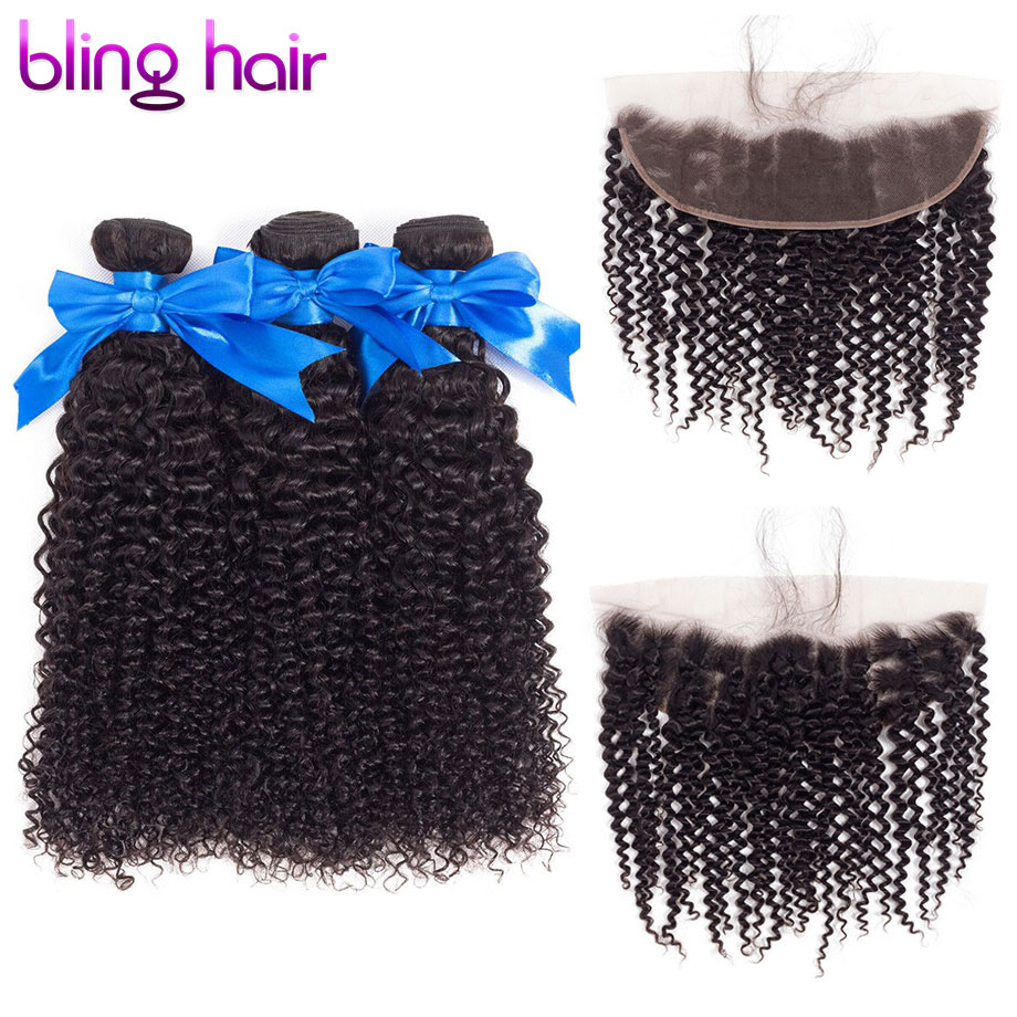 bling hair Afro Kinky Curly Hair Bundles With Frontal 13 4 Free Part Lace Closure Brazilian