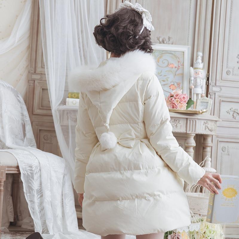 Chaud De Doux Laveur Rose D'hiver blanc Long Fourrure Femmes Raton Lolita Manteau Parka À Capuchon 5qwrq07B