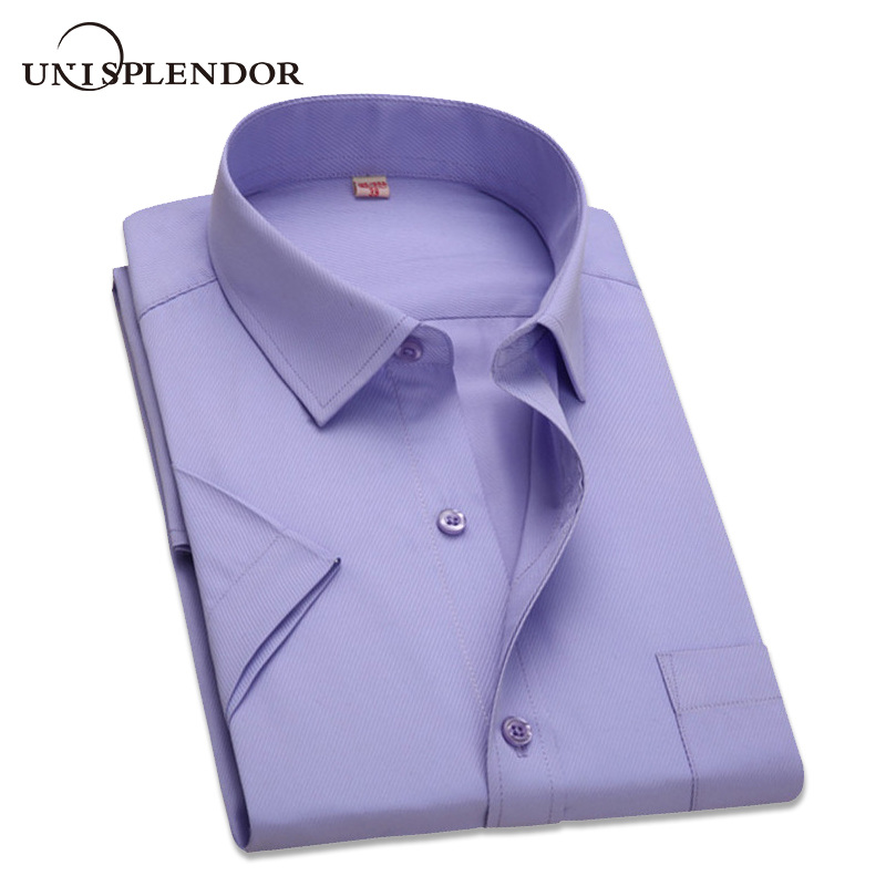 2019 Summer Plus Size 10 Colors Business&Casual Men Dress Shirt Short Sleeve Shirt Solid Color Slim Fit Man/Boy Shirts YN541