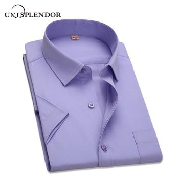 2019 Summer Plus Size 10 Colors Business&Casual Men Dress Shirt Short Sleeve Shirt Solid Color Slim Fit Man/Boy Shirts YN541