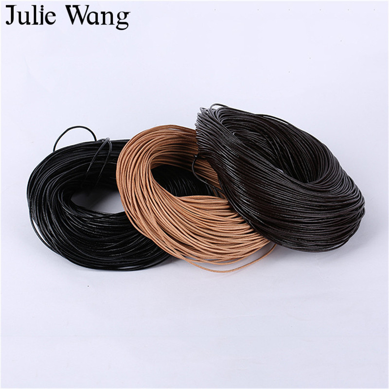 Julie Wang 1 Meter/Pack 1mm 2mm 3mm Cowhide Leather Cords DIY Necklace Pendant Rope String Bracelet Jewelry Making Accessory 4 pcs cowhide rope hand bracelet