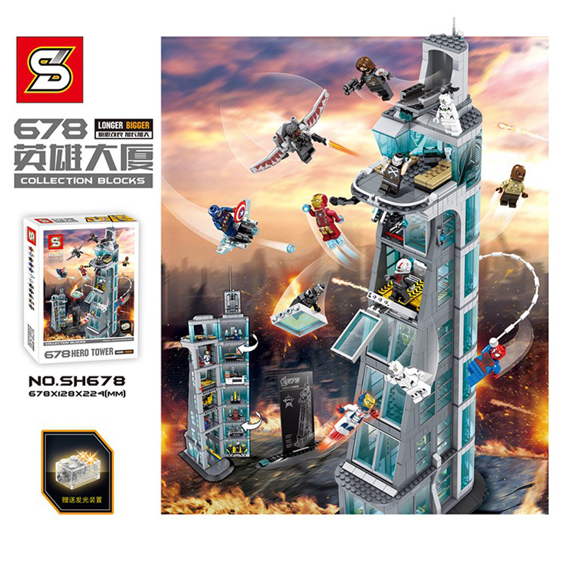 DHL SH678 1209Pcs Marvel Super Hero Seven Layers Attack On Avenger Tower Model Building Blocks Bricks Educational Toy Gift 76038 building blocks marvel super heroes figures avenger attack on avengers tower educational toys compatible with legoinglys
