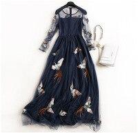 Sexy New 2017 spring summer fashion bird embroidery women mesh bohemian dress long sleeve pleated dresses blue