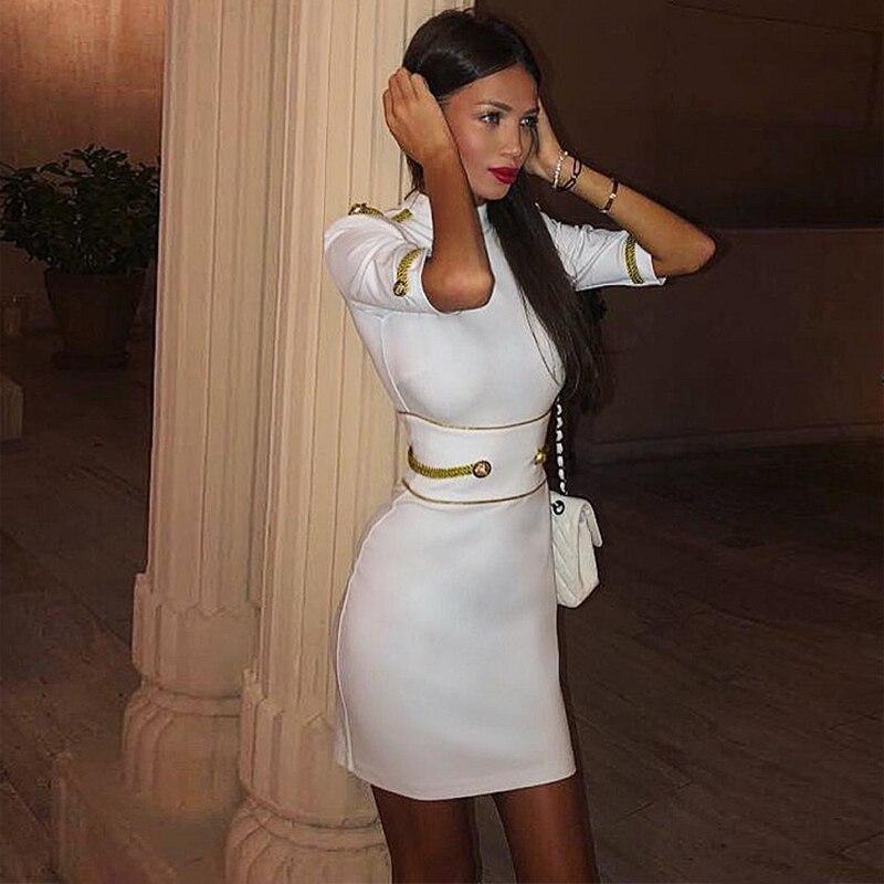 2019 Nouvelle Mode Échantillon Occasionnel Femmes Bandage Robe Parti Manches Robe D'anniversaire Célébrité De Bal Fille Vêtements Robe En Gros