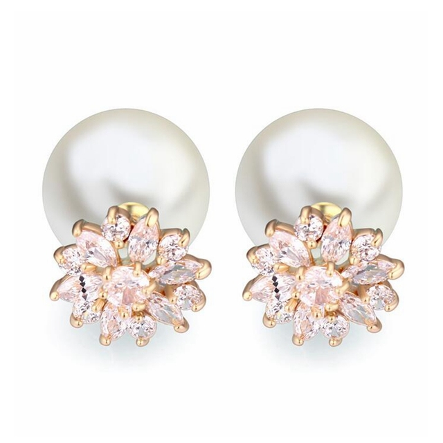 Classic Designer Jewelry Champagne imitation pearl Stud Earrings