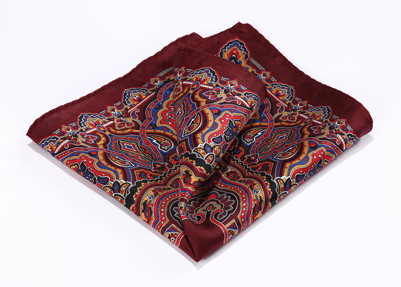 HN34U Burgundy Blue HISDERN Handkerchief 100% Natural Silk Satin Mens Hanky Fashion Classic Wedding Party Pocket Square