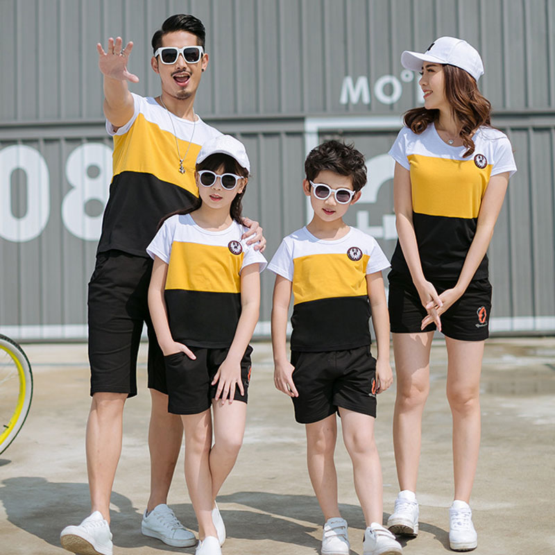 HTB1rK.rjZnI8KJjSsziq6z8QpXaA - New Summer Family Matching Outfits Father Boy Mother Daughter Cotton Shirts Shorts Pants set Plus Size Family Clothing