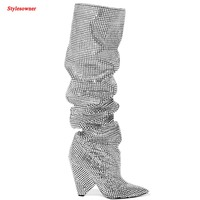 Stylesowner 2017 Newest Luxury Crystal Women Pointy Toe Knee High Boots Sexy Strange Heel Boots Bling