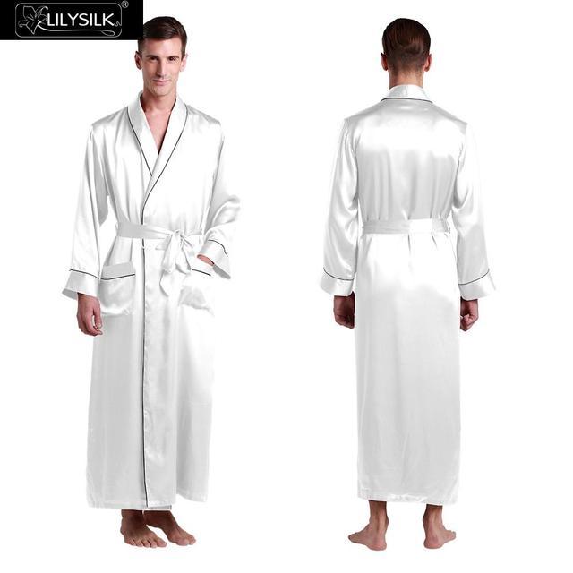 Robes De Seda Para Homens de 22 Momme Lilysilk Sono Longo Roupão De Banho de Luxo Branco Roupão de Inverno Cuidados Com A Pele Sensível Masculina Tradicional