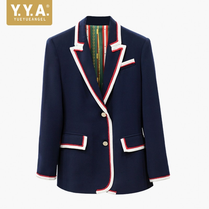 New Style European Womens Jackets Pocket Single-Breasted Womens Blazer Fall 2019 Office Blazer Woman Cotton Ladies Coats Blue L