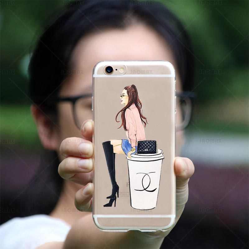 Модное платье шоппинг чехол для девушек для iPhone XS MAX 8 плюс 6 плюс 5 5S SE 7 плюс прозрачный силиконовый телефон задняя крышка Fundas крышка