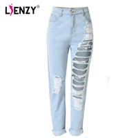 LIENZY Summer Fashion Women BF Jeans Hole Rippped High Waist Light Blue Washed Women Denim Jeans