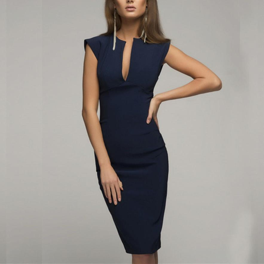 KANCOOLD Dress New High Quality Lady Summer V-Neck Slim Casual Working Pencil Sleeveless Dress Fashion Dress Women AP25