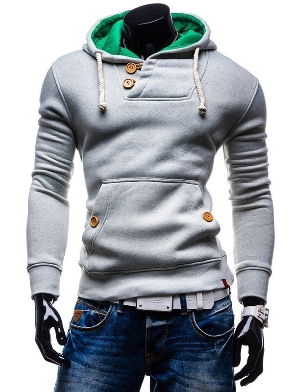 Men's Long Sleeve Hoodies Slim Solid Hooded Sweatshirt Plus Size Man Tops Clothing Male Pocket Hoodie Cotton Autumn Outwear
