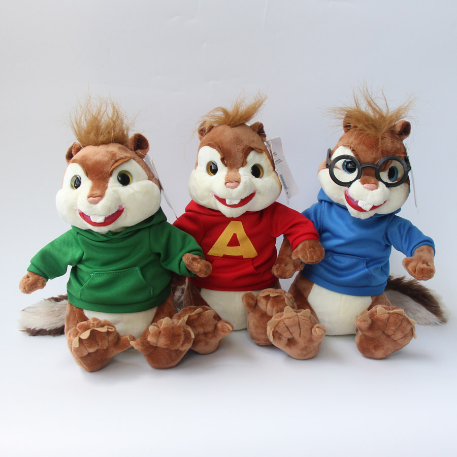 product 3pcs/Lot 26cm Alvin and the Chipmunks Plush Toy Cute Alvin Simon Theodore Chipmunk Stuffed Animal Dolls For Kids Christmas Gift