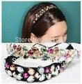 2014 nueva Venta Al Por Mayor y Al Por Menor bohemio colorido granos cristalinos hechos a mano accesorios para el cabello diadema hairband elástico