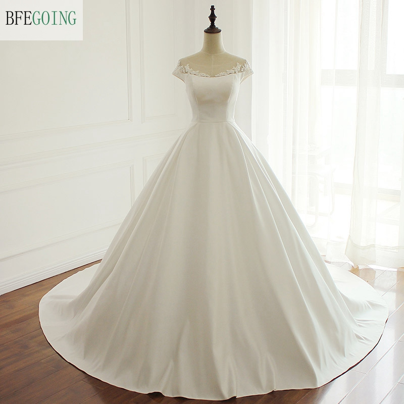 Ivory Satin Floor Length Ball Gown Wedding dress Chapel Train Zipper Appliques Beading Bridal Gown Custom