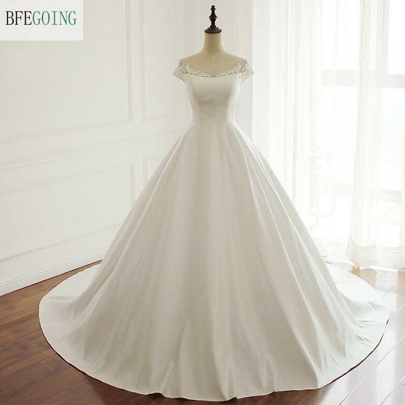 Ivory Satin Floor Length Ball Gown Wedding Dress Chapel Train Zipper Appliques Beading Bridal Gown Custom Made Wedding Dresses Aliexpress