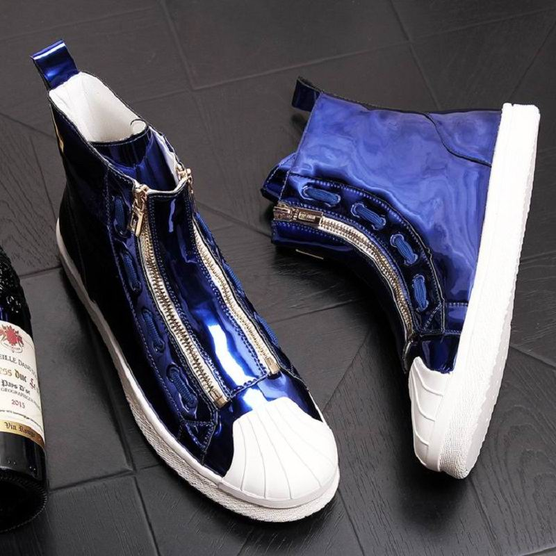 ERRFC New Arrival British Luxury Mens Blue Casual Shoes High Top Patent Leather Double Zip Man
