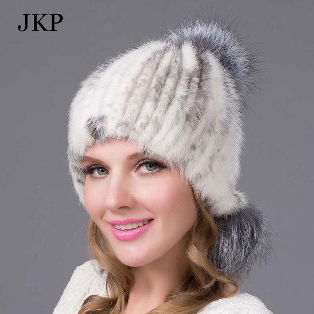 JKP Women Fur Hat Genuine Mink Fur Knitted Htas with Fur Ball Pom Poms  Female Winter Beanies Ear Caps Cross mink fur hat 2ad28bfaacf4
