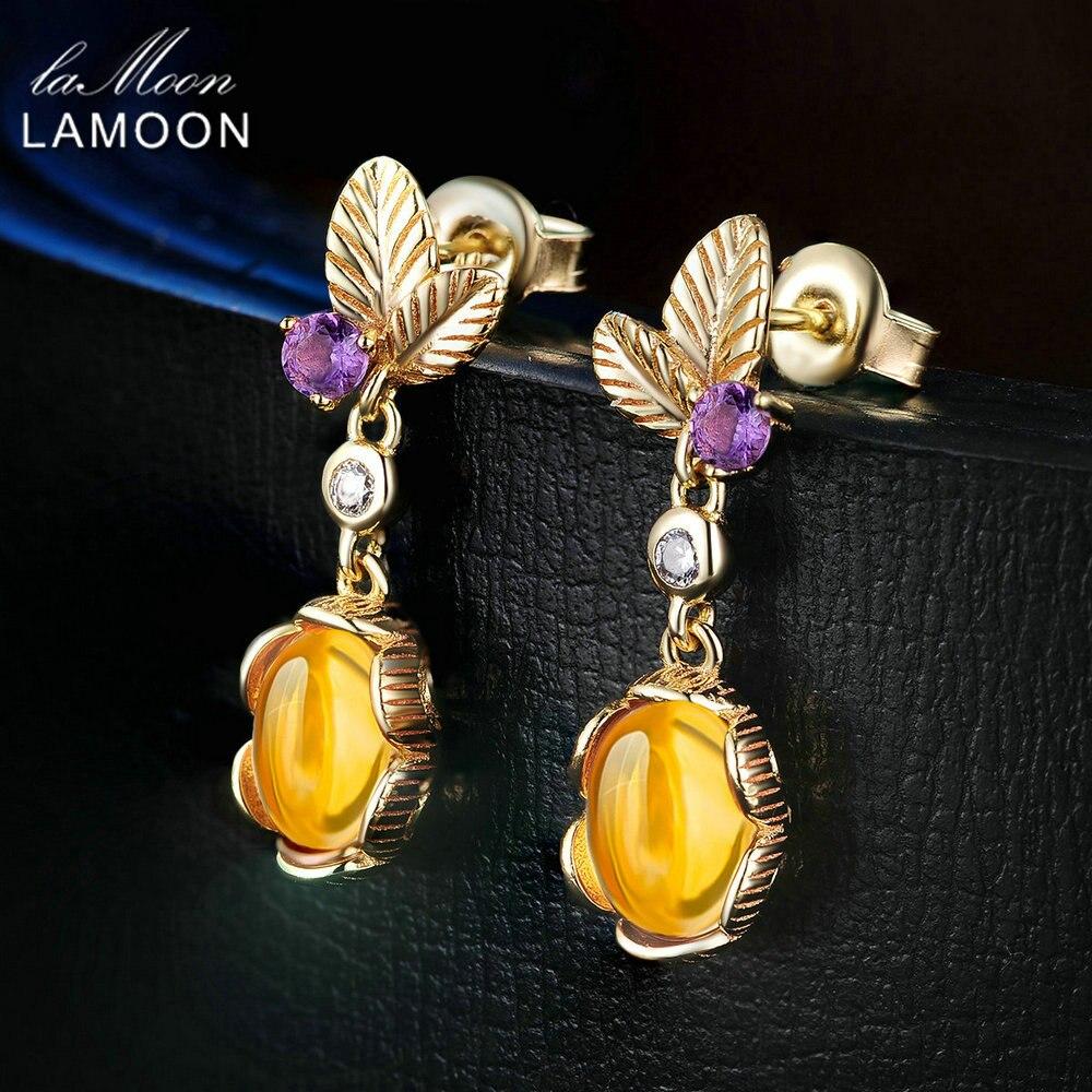LAMOON Flower Drop Earrings 925 Sterling Silver Jewelry 3.2 Carat Natural Oval Citrine Yellow Catkins Amber Women's Earring Gift