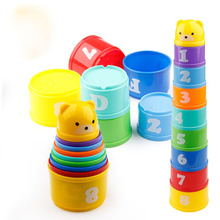 Купить с кэшбэком 8PCS Educational Baby Toys 6Month+ Figures Letters Foldind Stack Cup Tower Children Early Intelligence