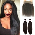 Brazilian Kinky Straight With Closure 360 Lace Frontal With Bundles 7A Brazilian Virgin Hair With Closure With Closure