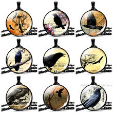 Crow Gothic Necklace Raven Photo Glass Cabochon Steampunk Black Necklaces Punk Pendants Women Men Jewelry Gifts