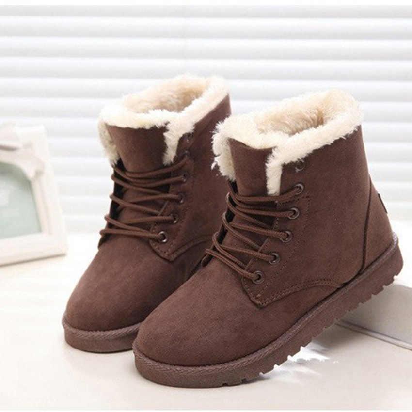 Sepatu Bot Musim Dingin Wanita Sepatu Bot Salju Perempuan Hangat Renda Karet Sepatu Suede Platform Sepatu Mewah Insole Pasang Kaos Mujer Invierno 2020