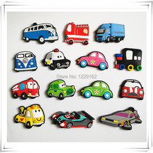 Free shipping (14pcs/lot) Cartoon Car fridge magnets whiteboard sticker Silicon Gel Refrigerator Magnets Educational Kids gift