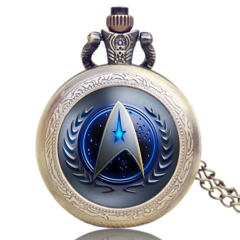Hot Fashion Movie Theme Star Trek Pocket Watch Pendant Necklace Clock Quartz Watch Cosplay Accessory hot selling style star trek theme 3 colors pocket watch with necklace chain high quality fob watch