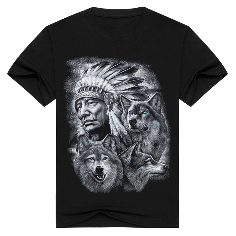 3d الذئب تي شيرت رجالي ماركة 3d الهنود - ملابس رجالية