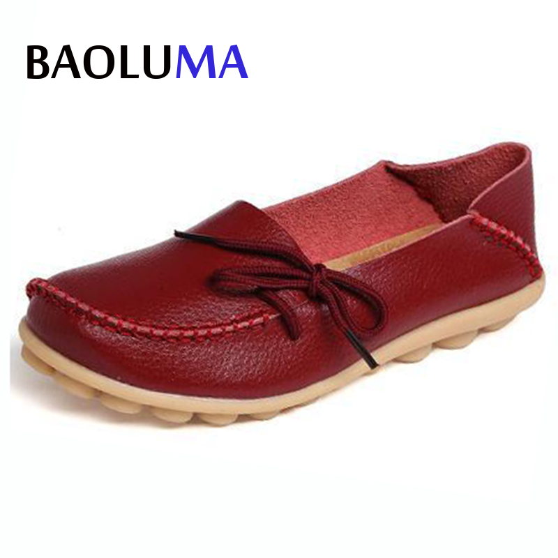 Baoluma Women Real Leather Shoes Moccasins Mother Loafers Soft Leisure Flats Female Driving Casual Footwear 35-43 In 20 Colors split leather dot men casual shoes moccasins soft bottom brand designer footwear flats loafers comfortable driving shoes rmc 395