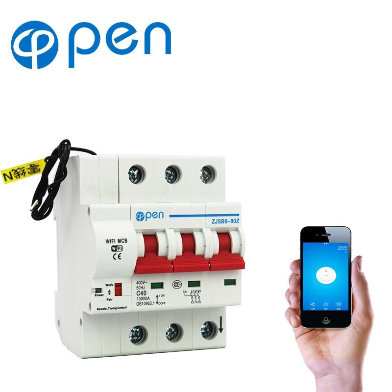 OPEN 3P 32A 63A 80A 100A wifi Remote control Circuit breaker/ Smart Switch/Automatic recloser overload/short circuit protection 3ve4 motor protection circuit breaker 3p 1 63amps