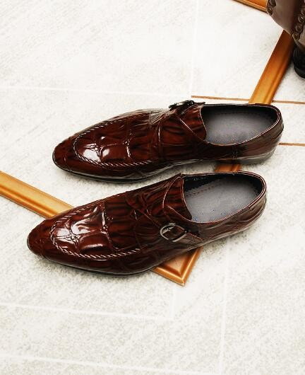 Nuevo as Plano Hombres De Negro 1 Negocios Otoño Tacón Oxfords 2 Zapatos Británico Show Marrón Estilo Formal As Hebilla 4TYqwX4