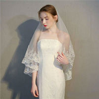2019 Custom Made Wedding Veil Elbow Length Two Layers Lace Applique Sequined White Ivory Bridal Veils