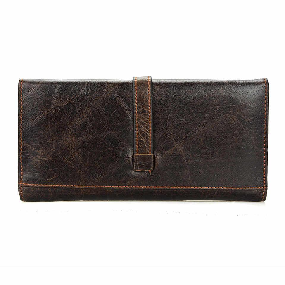 Брендовый деловой мужской кошелек, Длинный кошелек-клатч из натуральной кожи, мужской кошелек с застежкой, мужской кожаный мешок для монет, кошельки